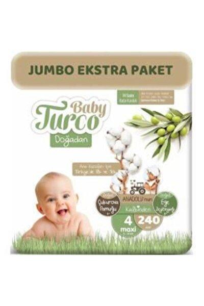 Baby Turco Doğadan Bebek Bezi 4 Beden - Numara Maxi 240 Adet Jumbo Ekstra Paket 8 - 14 Kg