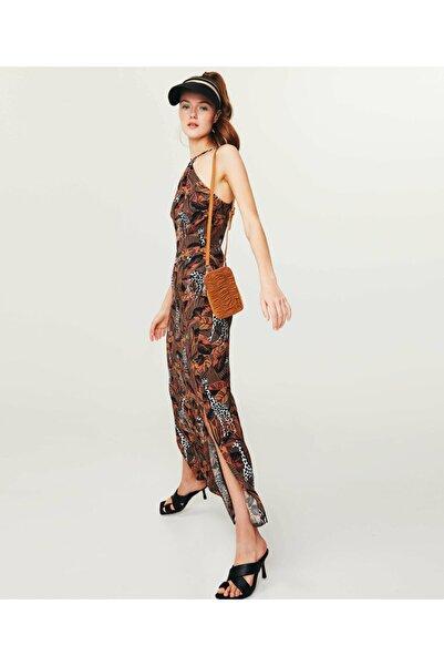 Twist Animal Print Maxi Elbise