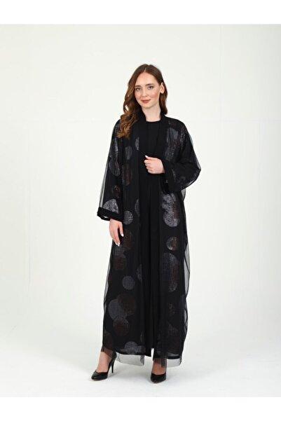 Orhan Beli Kuşaklı Tül Kaplama Payetli Abaya Elbise Takım