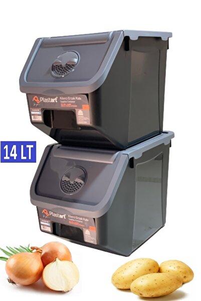 PlastArt 2 Adet Patates Soğan Erzak Kiler Saklama Kabı 14 Litre Kilerkabı (ANTRASİT KAPAKLI)