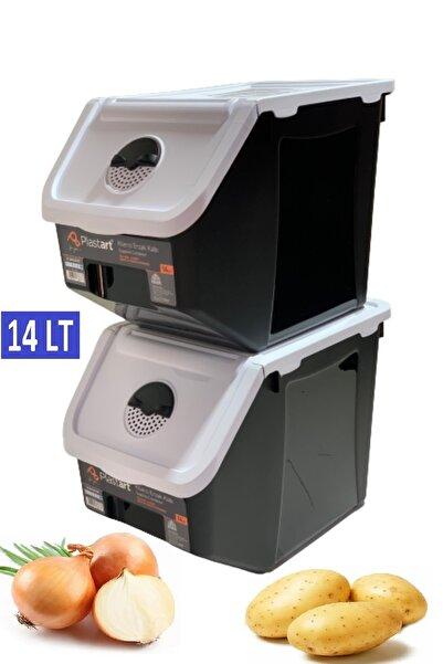 intekhome 2 Adet Patates Soğan Erzak Kiler Saklama Kabı 14 Litre Kilerkabı (beyaz Kapaklı)