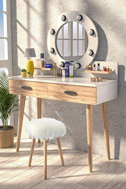 Y&E ALBERO Pırıltı Kulis Işılkı Puflu Makyaj Masası