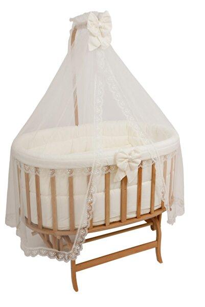 Bebekonfor Krem Fransız Uyku Seti ile Amedan Gold Sepet Bebek Beşikleri