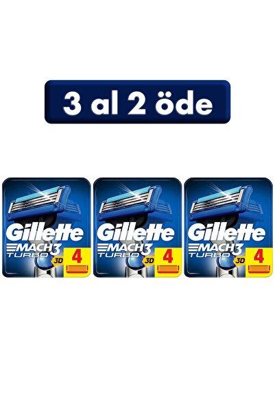 Gillette Mach3 Turbo Yedek Tıraş Bıçağı 4'lü (3 Al 2 Öde)
