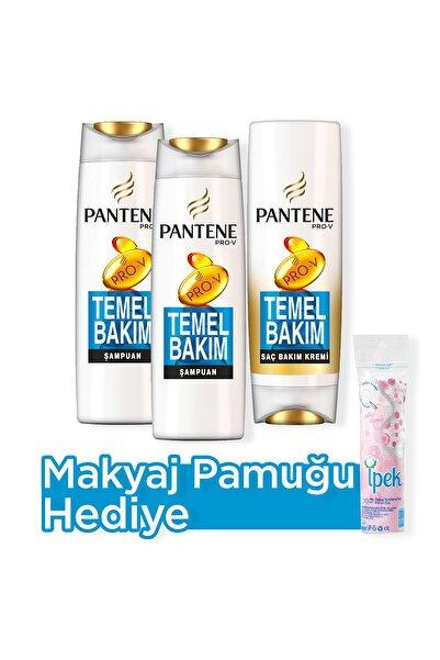 Pantene Temel Bakım Şampuan 500 ml  x 2+ Saç Bakım Kremi 470 ml  + Makyaj Pamugu Hediye