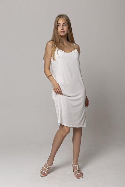 ZİNDİ Kadın Askılı Penye Elbise Ekru