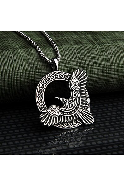 Viking İskandinav Mitolojisi Odin Huginn Muninn Kuzgun Tasarım 316l Kolye