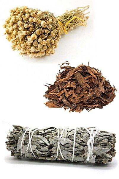 AKTARFAN Üzerlik Otu Demet, Adaçayı Bağ, Buhur 3 Ürün 1 Arada Bitki Tütsüsü Nazar Seti
