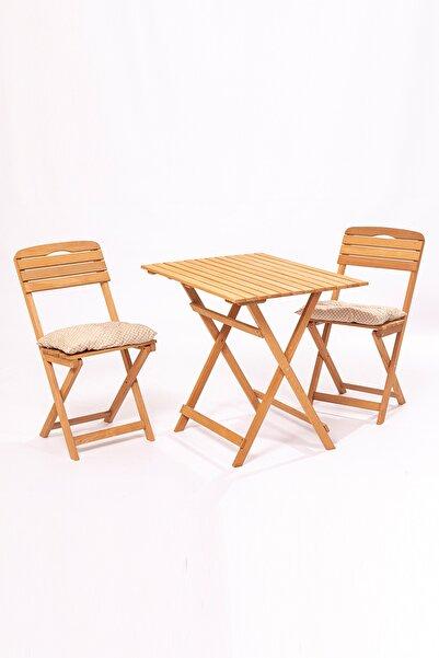 Meya Dekor Minderli Balkon Bahçe 3'lü Katlanabilir Bistro Set 2 Sandalye 1 Bahçe 60x80 Cm Masa