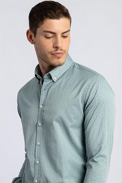 Tudors Slim Fit Baskılı Likralı Erkek Gömlek