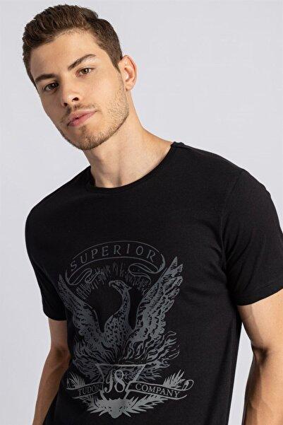 Tudors Slim Fit Dar Kesim Baskılı Basic Bisiklet Yaka Siyah Erkek T-shirt