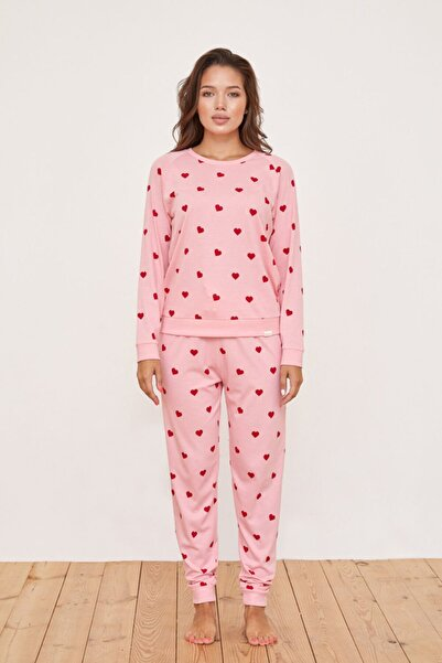 Katia&Bony Kalp Desenli Kadın Pijama Üst - Pembe