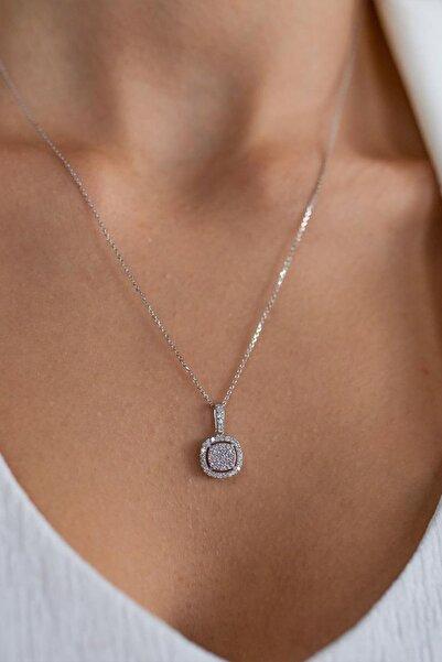 Armes Silver Pırlanta Montürlü Baget Gümüş Rodyum Kaplama Kadın Kolye