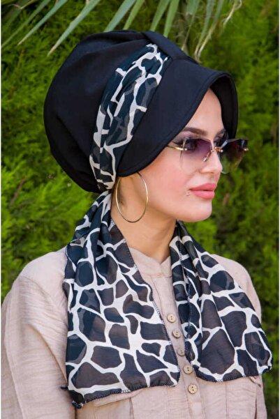 Aişe tesettür Kadın Siyah Mermer Şapkalı Bone