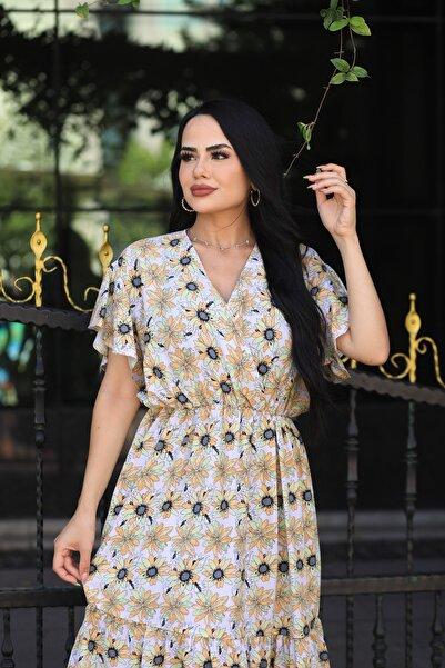 LİLA İSTANBUL Kruvaze Yaka Çiçek Desenli Yazlık Elbise