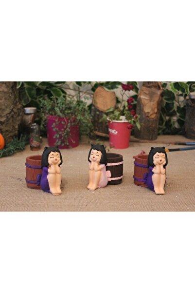 makbaall 3'lü  Set Sepetli Kız Saksı Sunumluk Kalemlik