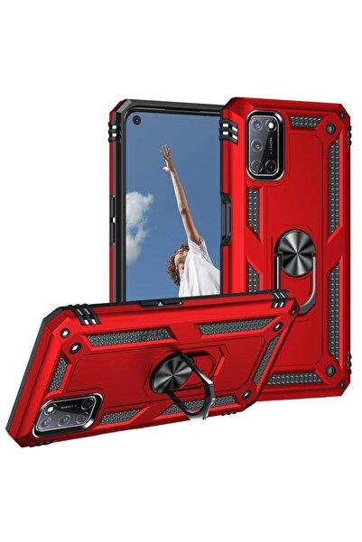 Oppo A72 Uyumlu Yüzüklü (standlı) Nezih Case Zırh Kılıf Kırmızı