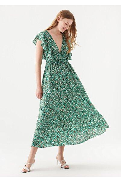 Mavi Baskılı Yeşil Elbise 131071-33919