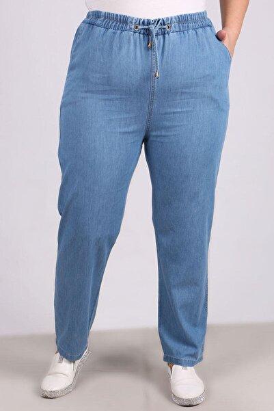 Eslina 9123 Büyük Beden Beli Lastikli Dar Paça Kot Pantolon Buz Mavi