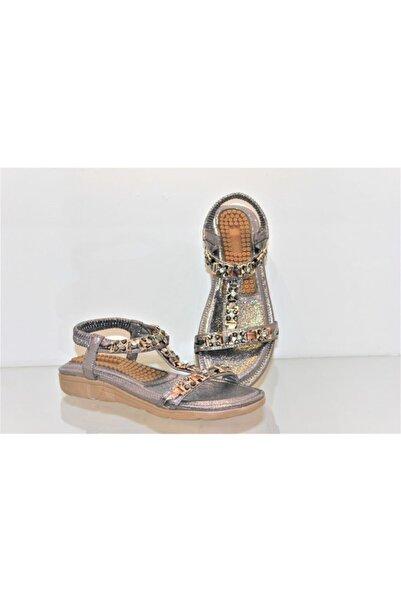 Guja 20y231 2 Kadın Ortopedik Aksesuarlı Taşlı Sandalet Gri