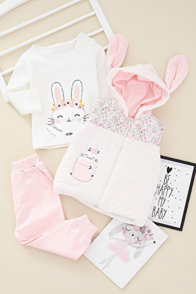 ADABEBEK Kız Bebek Tavşan Nakışlı Yelekli Kapşonlu Takım