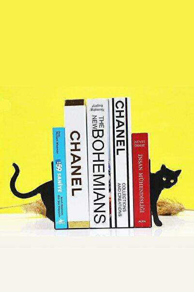 YENİ HALI ÖRTÜSÜ Kedi Figürlü Dekoratif Ahşap Kitap Tutucu Kitap Desteği