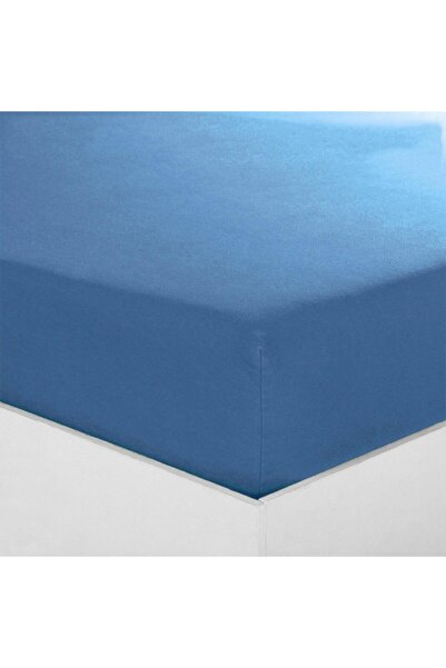 Maki %100 Pamuklu Ranforce Lastikli Çarşaf 200x200 32 cm Derin Flaplı Mavi