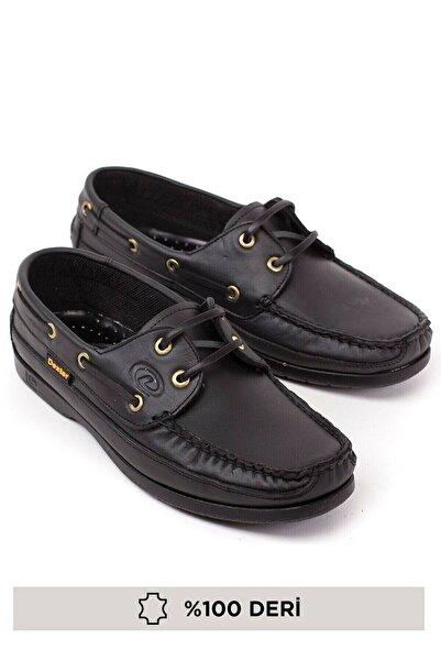 RodeoClass Erkek Siyah Bağcıklı Hakiki Deri Günlük Ortopedik Loafer Ayakkabı