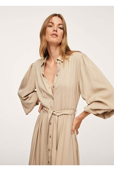 MANGO Woman Kadın Açık/Pastel Gri Pilili Gömlek Elbise