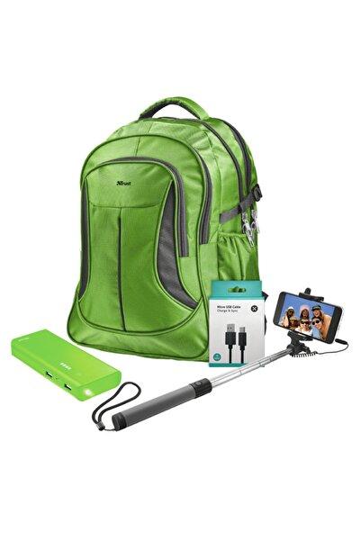 Trust 22856 Lima Yeşil Notebook Sırt Çantası + Yeşil Powerbank + Selfie Çubuğu + 1 M Micro Usb Kablo