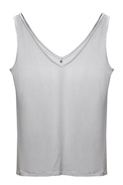 BASIC&CO Alexa Beyaz V Yaka Viskon Basic Atlet T-shirt