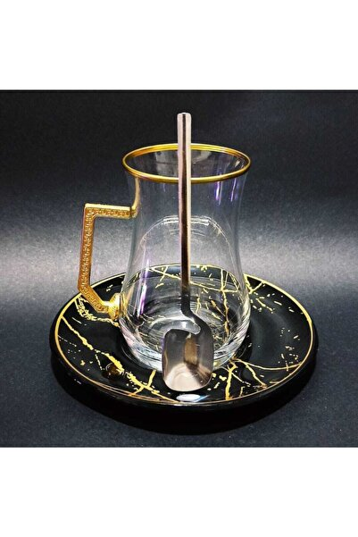 Turkuaz Crystal Dark Collection Pratik Kaşıklı Çay Takımı Seti 18 Parça