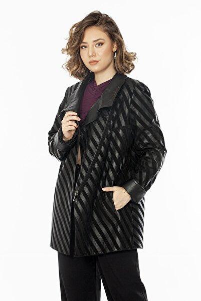 Loris Yandan Fermuarlı Kadın Deri Ceket
