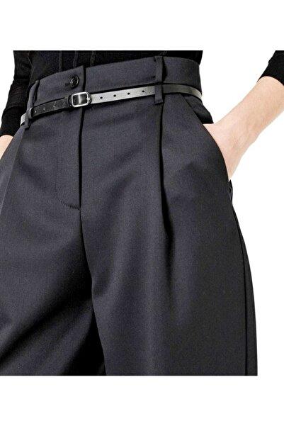 Sheen Dmr Kadın 4 Mevsim Giyilebilen Yünlü Likralı Yüksek Bel Bol Paça Haute Couture Kumaş Pantolon