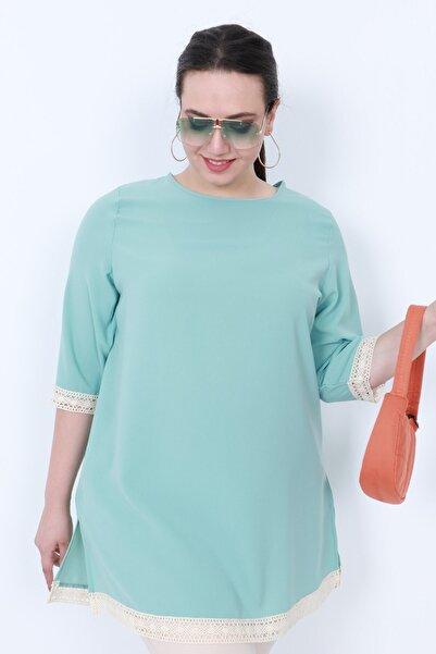 KadoModa Dantel Detaylı Bluz Su Yeşili