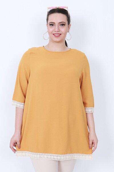KadoModa Dantel Detaylı Bluz Sarı