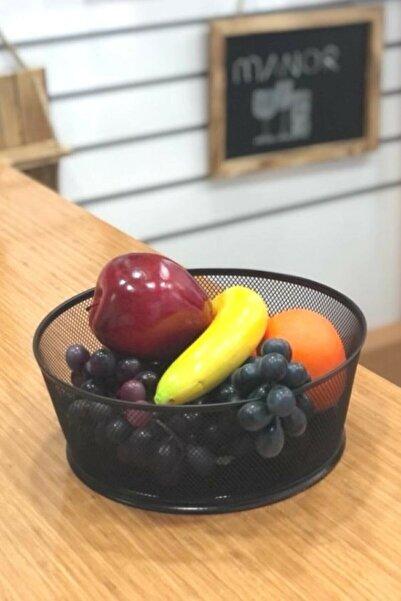 Manor Dekoratif Siyah Meyve Ikramlık Sunum Sepeti 17cm