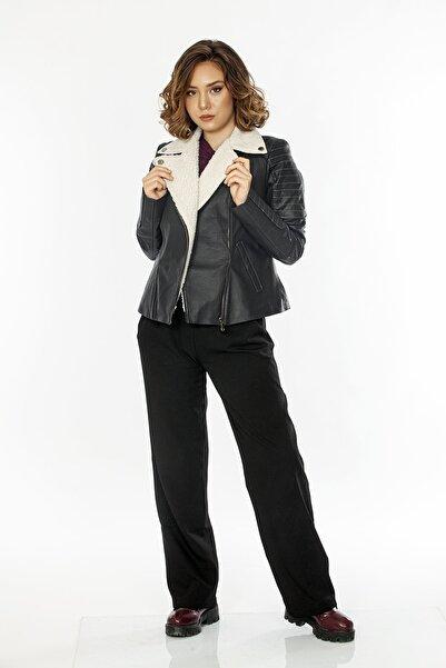 Loris Imitasyon Kürk Yakalı Kadın Deri Ceket