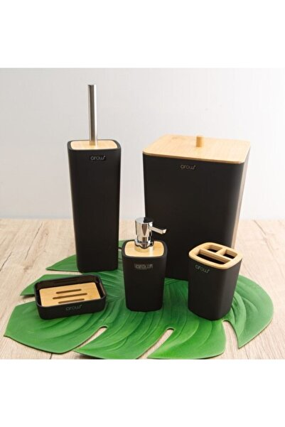 AROW Mostar 5 Parça Bambu Kapaklı Akrilik Siyah Banyo Seti