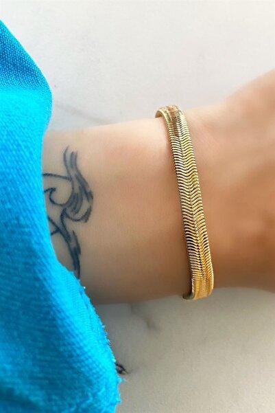 TAKIŞTIR Altın Renk Italyan Yassı Zincir Bileklik