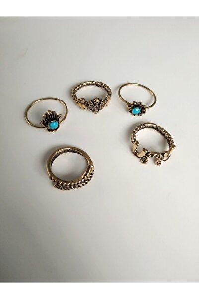 One-Hope Fashion Kadın Vintage Gold Firuze Taşlı 5'li Eklem Yüzük Seti - Antik Eklem Yüzüğü