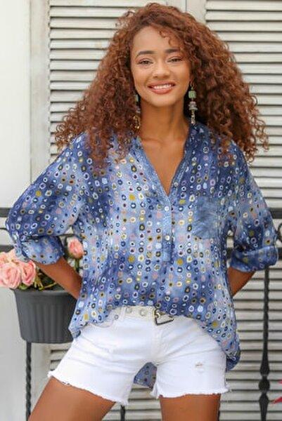 Kadın Mavi Italyan Puan Desenli Patı Ve Cebi Pul Dokuma Uzun Kol Ayar Düğmeli Bluz M10010200bl95053