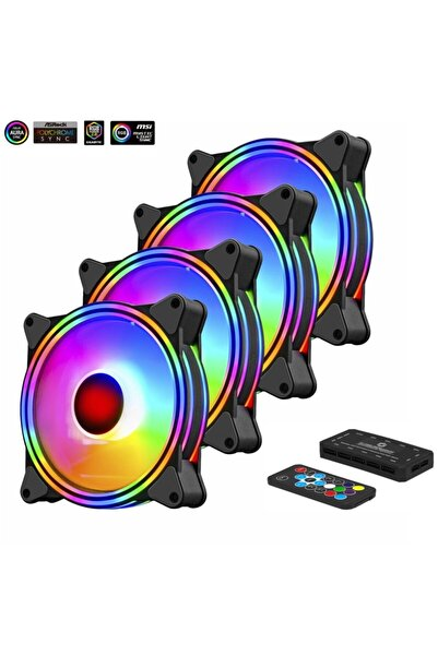 FRISBY Fcl-f1272c 4in1 Kumandalı Dual Argb Fan Set 4lü Set Kit 4x120mm Sessiz Rgb Kasa Fanı