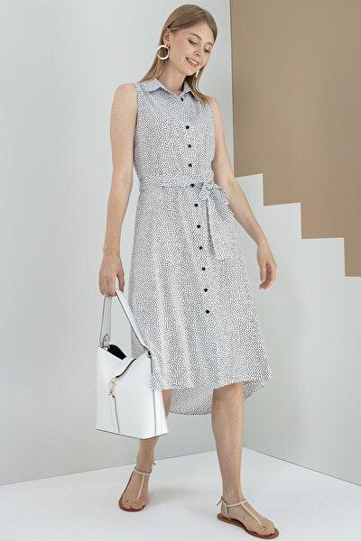 Journey Elbise-polo Yaka, Ön Tam Boy Düğme Detaylı, Ön-arka Geçişli