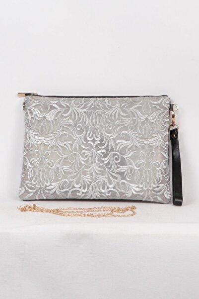 Match Gümüş Rengi Şık Desenli Clutch