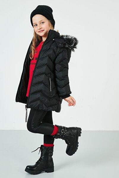 Lela Yakası Suni Kürklü Kapüşonlu Şişme Mont Kız Çocuk MONT 5766041