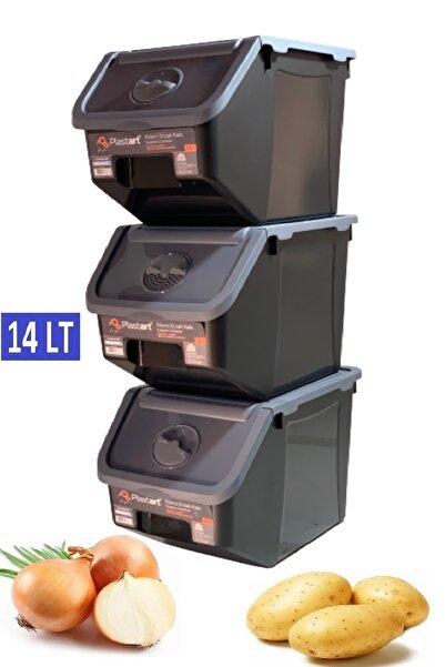 intekhome 3 Adet Patates Soğan Erzak Kiler Saklama Kabı 14 Litre Kilerkabı (antrasit Kapaklı)