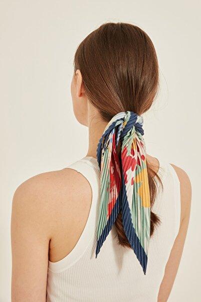Y-London 13750-1 Lacivert Kenarlıklı Renkli Fular