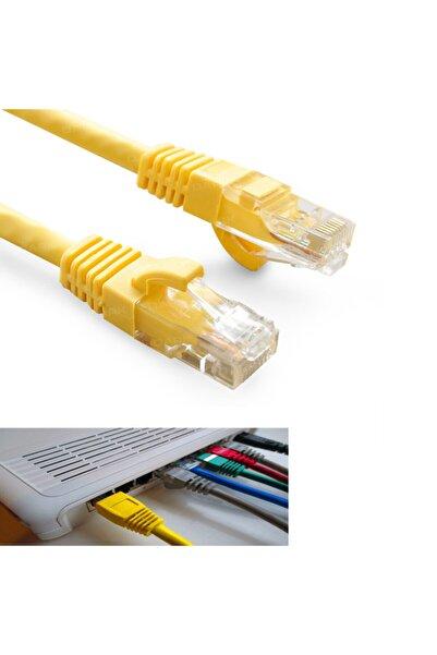 Maviaybilisim Cat6 Kablo İnternet Adsl Ethernet Kablosu Fabrikasyon 60 cm Sarı