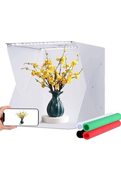 Cooltech Mini Stüdyo 40x40 cm Çift Led Ürün Fotoğraf Çekim Çadırı Pratik Katlanabilir 4 Arka Fon - Çanta